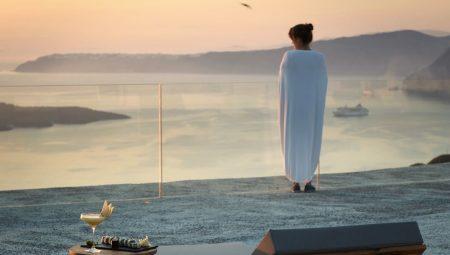 Lady Stares At Stunning Volcano View Santorini